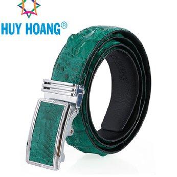 HH4804 - Dây nịt nam da cá sấu Huy Hoàng gai màu xanh lá