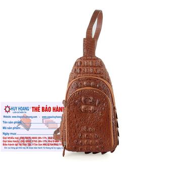 Túi đeo trước nam da cá sấu Huy Hoàng màu nâu đỏ HH6288