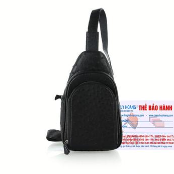 Túi đeo trước nam da đà điểu Huy Hoàng màu đen HH6443