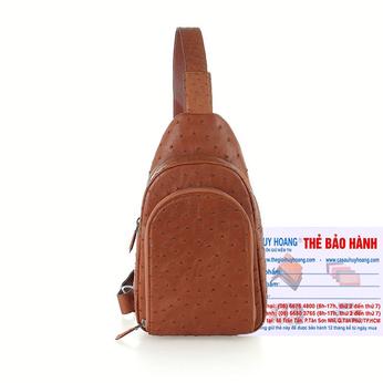 Túi đeo trước nam da đà điểu Huy Hoàng màu vàng bò HH6445