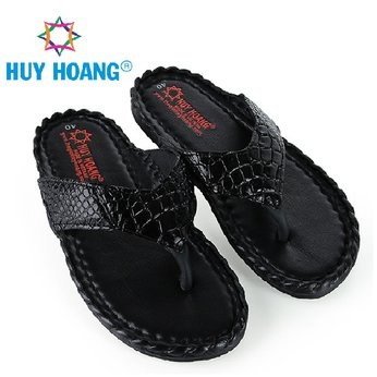 HH7229 - Dép nam Huy Hoàng da cá sấu kiểu đan màu đen