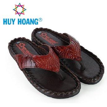 HH7232 - Dép nam Huy Hoàng da cá sấu kiểu đan màu nâu đỏ