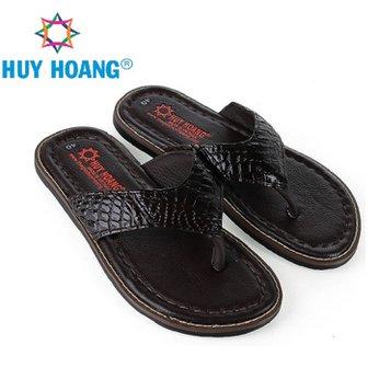 HH7234 - Dép nam Huy Hoàng da cá sấu kiểu kẹp màu nâu đất