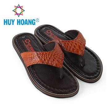 HH7235 - Dép nam Huy Hoàng da cá sấu kiểu kẹp màu vàng bò