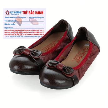 Giày trẻ em nữ Huy Hoàng da bò màu đỏ đô phối đen HH7863
