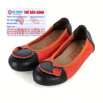 Giày trẻ em nữ Huy Hoàng da bò màu cam phối đen HH7864