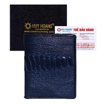 Bóp nam Huy Hoàng da đà điểu da chân kiểu đứng màu xanh đậm HH2434