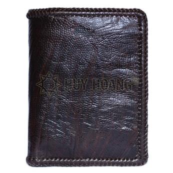 Bóp nam Huy Hoàng da đà điểu da trơn đan viền kiểu đứng màu nâu đất - HH2448