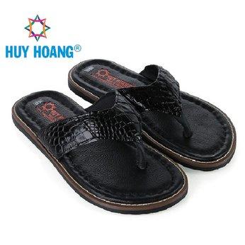 HH7233 - Dép nam Huy Hoàng da cá sấu kiểu kẹp màu đen