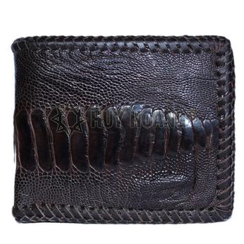 Bóp nam Huy Hoàng da đà điểu da chân đan viền màu nâu đất - HH2436