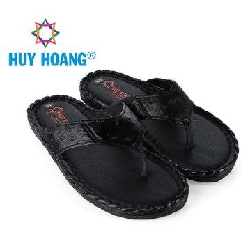 HH7417 - Dép nam da đà điểu Huy Hoàng da hột đan màu đen