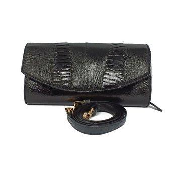 Túi đeo nữ da đà điểu da chân màu đen HH6414