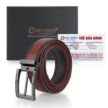 Thắt lưng nam da đà điểu đan viền đầu kim màu nâu đỏ HH4469