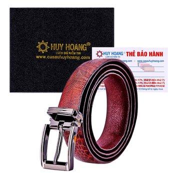 Thắt lưng nữ da đà điểu Huy Hoàng trơn màu nâu đỏ HH5415