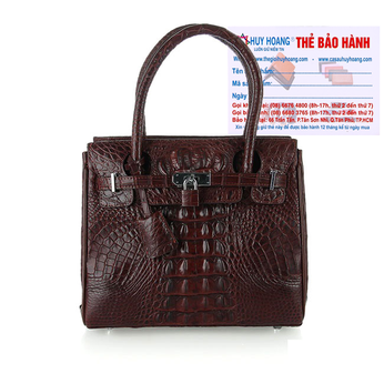 Túi xách nữ da cá sấu Huy Hoàng mini sang trọng màu nâu đất HH6296