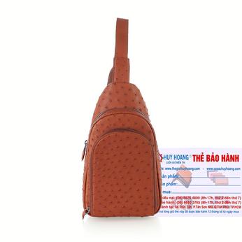 Túi đeo trước nam da đà điểu Huy Hoàng màu nâu đỏ HH6446