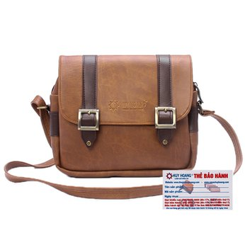Túi xách phối viền Huy Hoàng 2 khóa màu bò nhạt HH6161