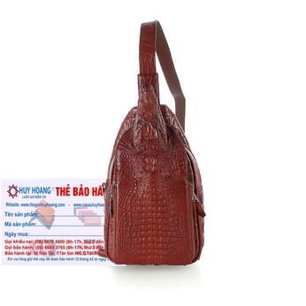 Túi đeo trước nam da cá sấu Huy Hoàng đầu cá sấu màu nâu đỏ HH6292