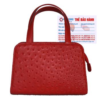 Túi xách nữ Huy Hoàng da đà điểu cỡ nhỏ màu đỏ HH6467