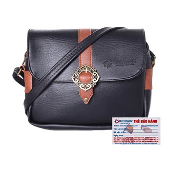 Túi xách phối viền Huy Hoàng 1 khóa màu đen HH6159