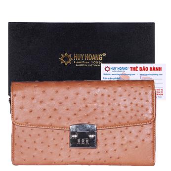 Túi cầm tay nữ Huy Hoàng da đà điểu màu nâu đỏ HH6454