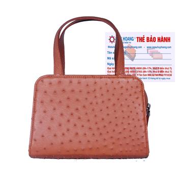 Túi xách nữ Huy Hoàng da đà điểu cỡ nhỏ màu nâu đỏ HH6466