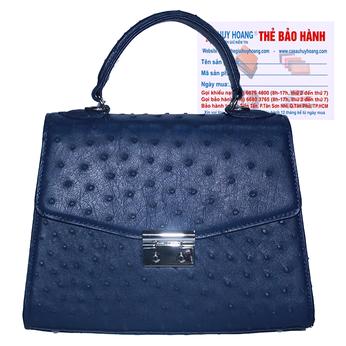 Túi hộp đeo chéo nữ Huy Hoàng da đà điểu màu xanh đậm HH6462