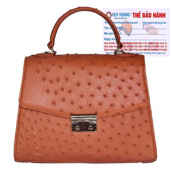 Túi hộp đeo chéo nữ Huy Hoàng da đà điểu màu vàng bò HH6459