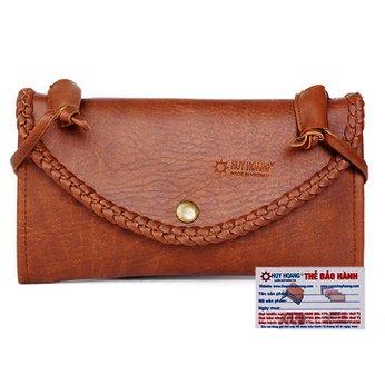 Túi xách Huy Hoàng đan viền màu bò đậm HH6170