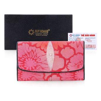 Bóp da cá đuối hoa văn màu đỏ hồng HH3508