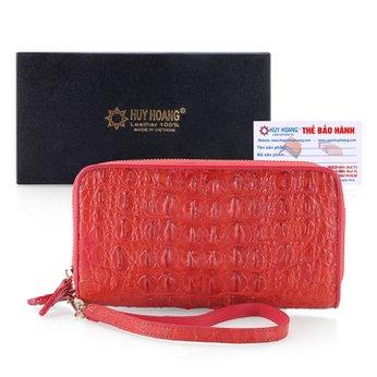 Bóp da cá sấu 2 khóa nguyên con đỏ HH3265
