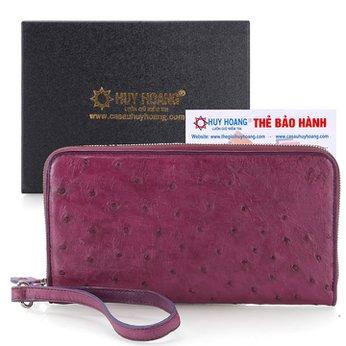 Bóp da đà điểu 1 khóa đại màu tím HH3451