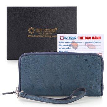 Bóp da đà điểu 1 khóa Vip xanh đậm HH3436