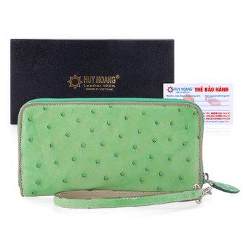 Bóp da đà điểu 1 khóa Vip xanh lá HH3438
