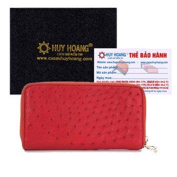 Bóp da đà điểu 2 khóa màu đỏ HH3444
