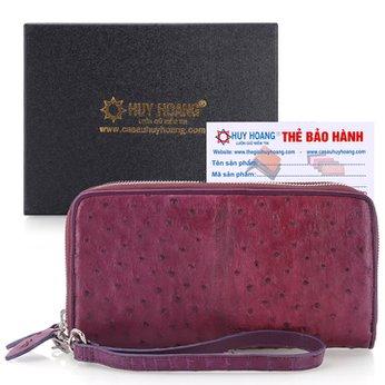 Bóp da đà điểu 2 khóa màu tím HH3446