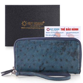 Bóp da đà điểu 2 khóa màu xanh đậm HH3447