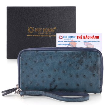 Bóp da đà điểu nhiều ngăn màu xanh đậm HH3420