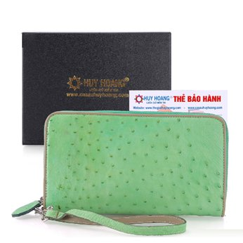 Bóp da đà điểu nhiều ngăn màu xanh lá HH3427