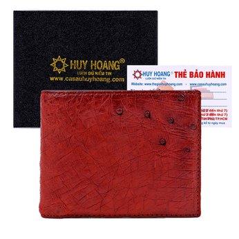 Bóp nam da đà điểu Huy Hoàng da bụng màu nâu đỏ HH2407