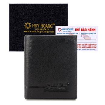 Bóp nam Huy Hoàng kiểu đứng sọc ngang màu đen HH2139