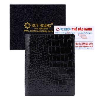 Bóp nam Huy Hoàng vân cá sấu kiểu đứng màu đen HH2120