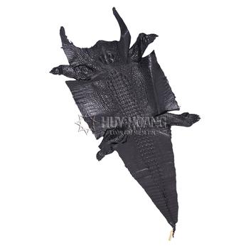 Da thuộc da cá sấu mổ bụng màu đen HH1201