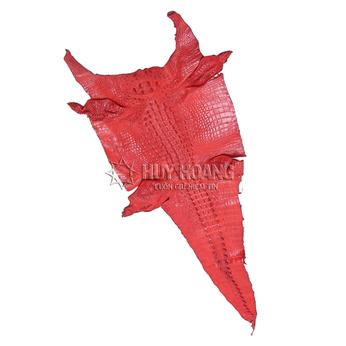 Da thuộc da cá sấu mổ bụng màu đỏ HH1205