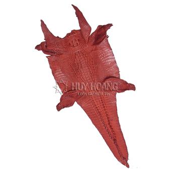 Da thuộc da cá sấu mổ bụng màu nâu đỏ HH1202