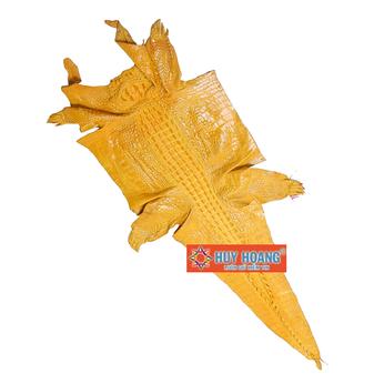 Da thuộc da cá sấu mổ bụng màu vàng nghệ HH1212