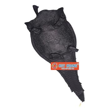 Da thuộc da cá sấu mổ lưng màu đen HH1221