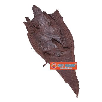 Da thuộc da cá sấu mổ lưng màu nâu đỏ HH1222