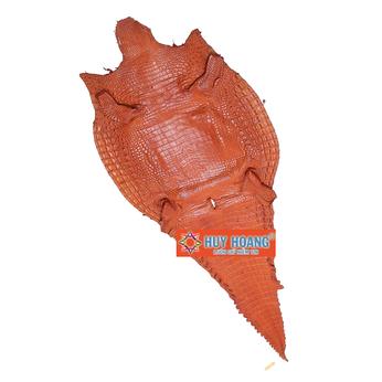Da thuộc da cá sấu mổ lưng màu vàng HH1224