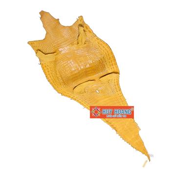 Da thuộc da cá sấu mổ lưng màu vàng nghệ HH1232